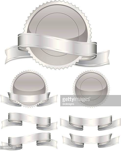 Silver Round Seals, Stickers with Optional Ribbons and Edgings