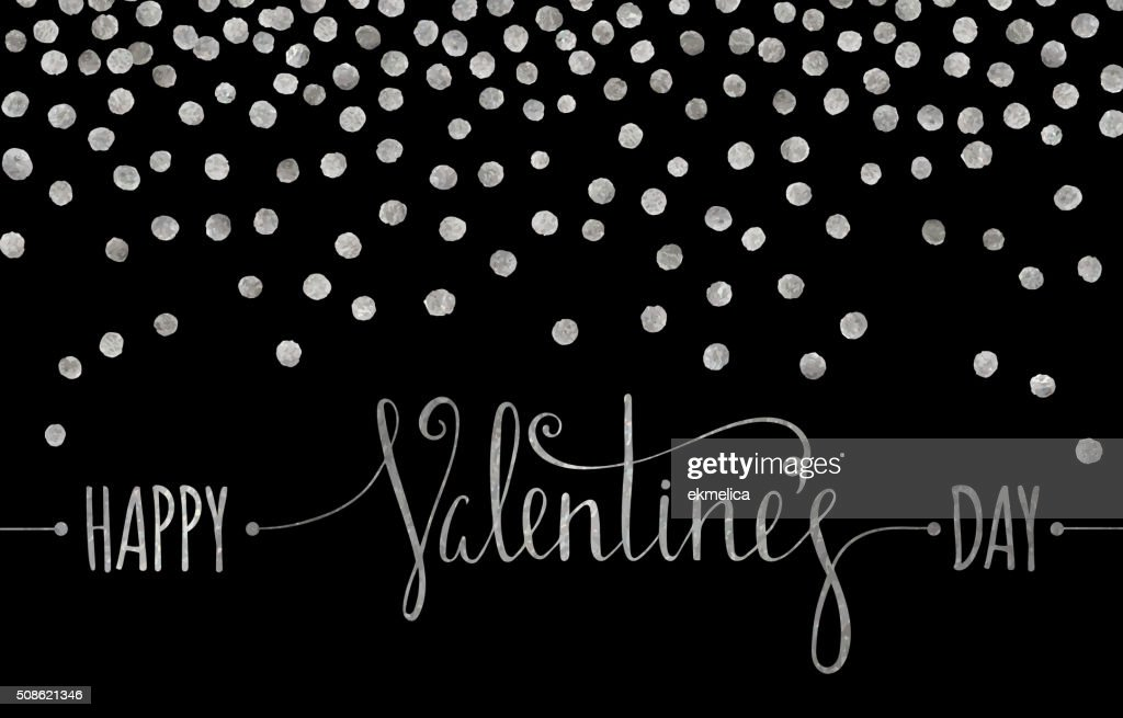 Silver textured Happy Valentines day inscription. : Vector Art