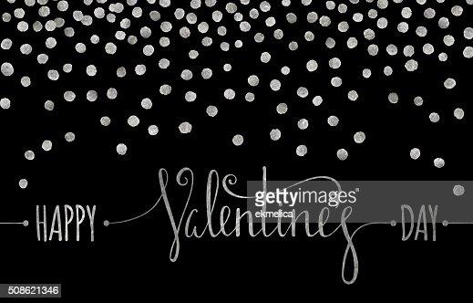 Silver textured Happy Valentines day inscription. : Vector Art