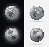 Silver world globes.