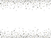 Abstract seamless pattern of silver confetti with empty center for text on white background.  Vector illustration.