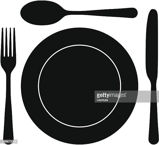 Illustrations et dessins anim s de assiette getty images for Position des couverts a table