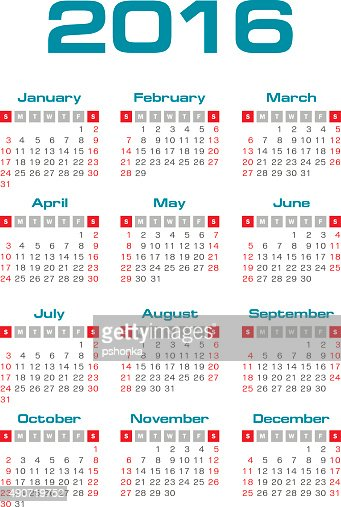 Simple 2016 Year Vector Calendar Vector Art Thinkstock