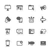 Simple Set of Advertisement Related Vector Icons. Contains such icons as magazine, billboard, web-banner and more.