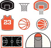 A group of simple basketball themed vector elements. A court, a ball, a jersey and a basketball basket.