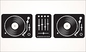 Simple black and white dj mixing turntable set vector illustration