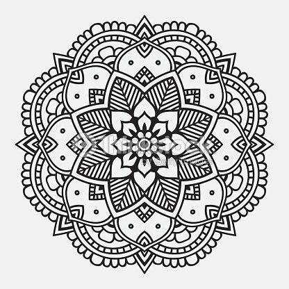 Simple Black Floral Orient Mandala Vector Art