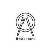 simple black thin line restaurant symbol. concept of nutrition service or serving dishes in dining room or canteen. contour flat style trend stroke graphic art design element isolated on white