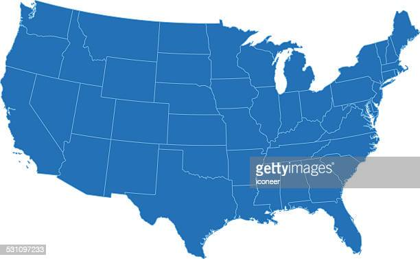 USA simple blue map on white background