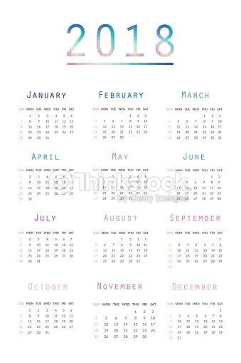 simple calendar 2018 abstract calendar for 2018week starts from sunday vector art