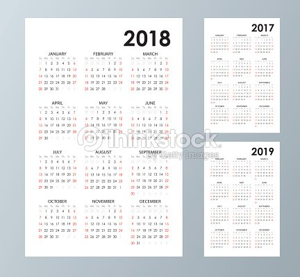 Simple Calendar Template For 2017 2018 And 2019 Week Starts From