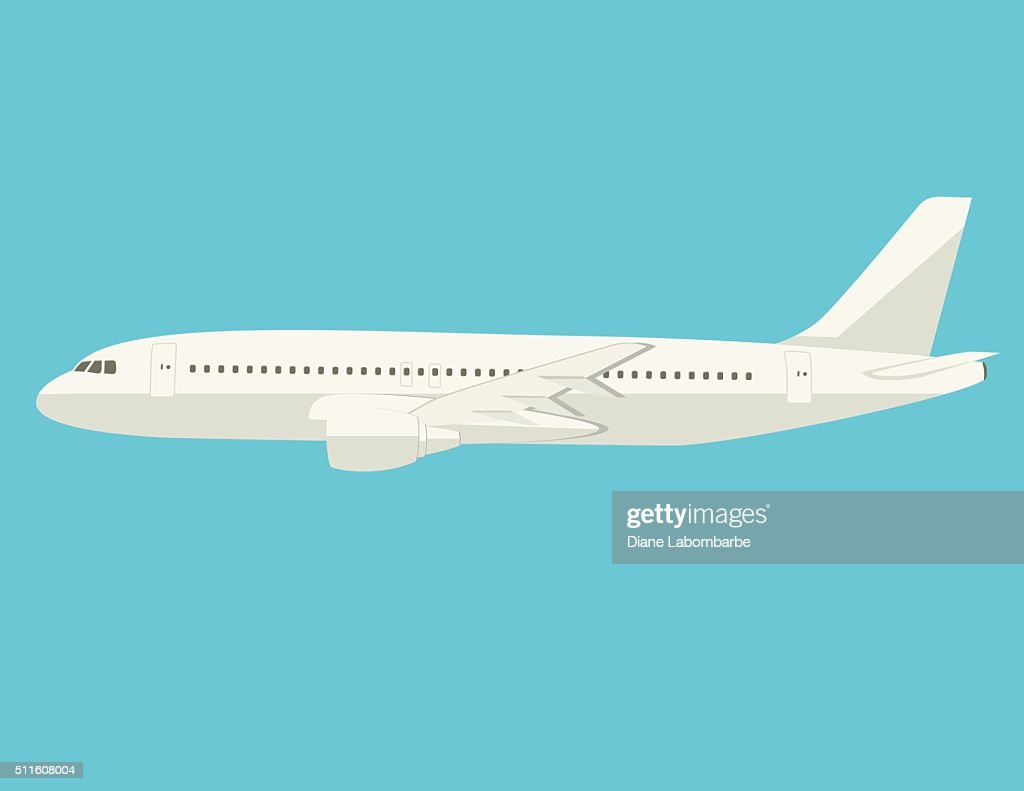 simple cartoon airplane on plain backgorund vector art getty images