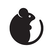 Simple cartoon mouse icon. Modern geometric mouse silhouette, vector illustration.