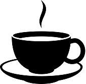 Simple coffee or tea cup icon. Black mug.