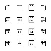 Simple collection of calendar related line icons. Thin line vector set of signs for infographic, logo, app development and website design. Premium symbols isolated on a white background.