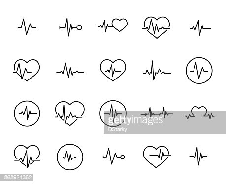 Simple collection of cardiogram related line icons : stock vector
