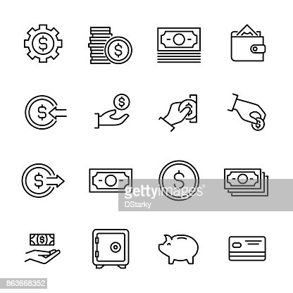 Simple collection of cash related line icons. : stock vector