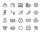 Simple collection of cash related line icons. Thin line vector set of signs for infographic, logo, app development and website design. Premium symbols isolated on a white background.
