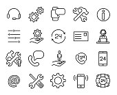 Simple collection of customer care related line icons. Thin line vector set of signs for infographic, logo, app development and website design. Premium symbols isolated on a white background.