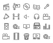 Simple collection of entertainment related line icons. Thin line vector set of signs for infographic, symbol, app development and website design. Premium symbols isolated on a white background.