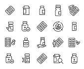 Simple collection of medical drug related line icons. Thin line vector set of signs for infographic, logo, app development and website design. Premium symbols isolated on a white background.