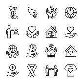 Simple collection of volunteering related line icons. Thin line vector set of signs for infographic, logo, app development and website design. Premium symbols isolated on a white background.