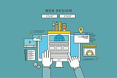 simple color line flat design of web design, modern vector illustration