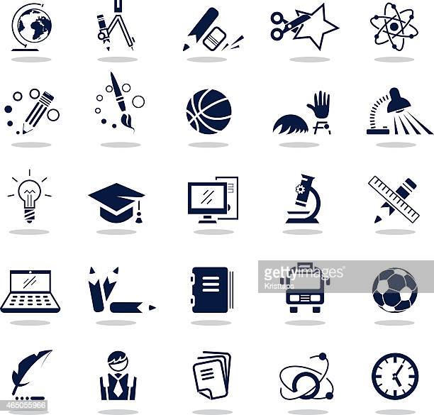 Simple dark blue icons – Education