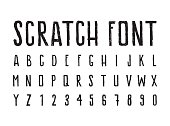 Brutal aggressive sloppy font, bold letters