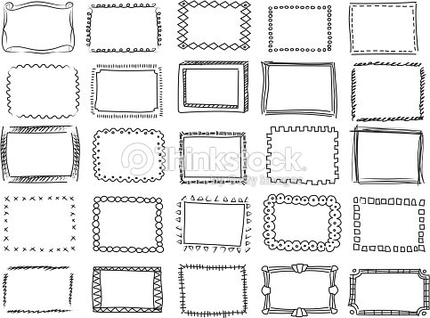 Simple Doodle Sketch Square Vector Frames Hand Drawn