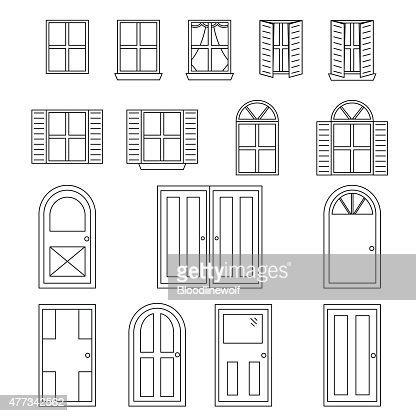 Simple doors and windows vector art getty images Simple drawing program for windows
