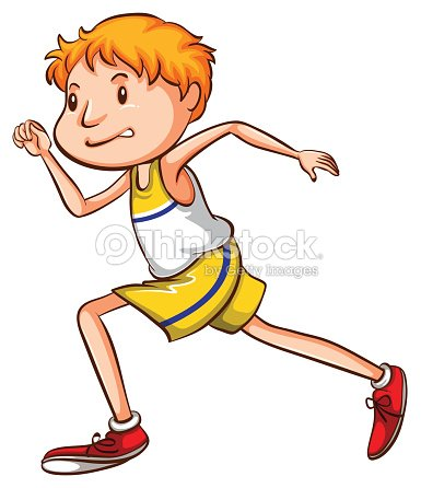 Simple Drawing Of A Boy Running Vector Art