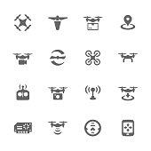 Simple Set of Drone Related Vector Icons. Contains Such Icons as Quadrocopter, Rotor, Radio Antena, Landing, Remote Control and More.