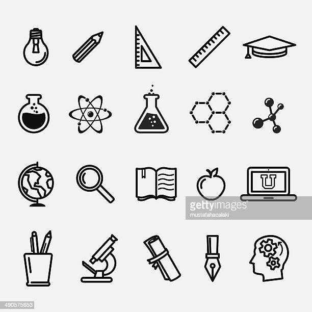 Sencillos iconos de educación y ciencia