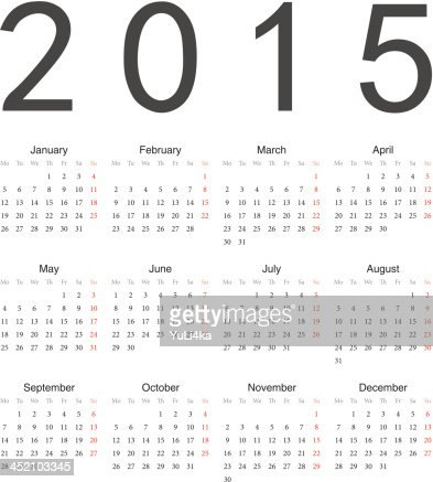 Simple vector calendario 2015 año europeo : Arte vectorial