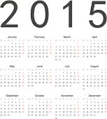 Simple european 2015 year vector calendar. EPS10.