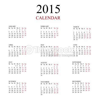 simple european 2015 year vector calendar vector art