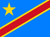 Simple flag of DR Congo. Correct size, proportion, colors.