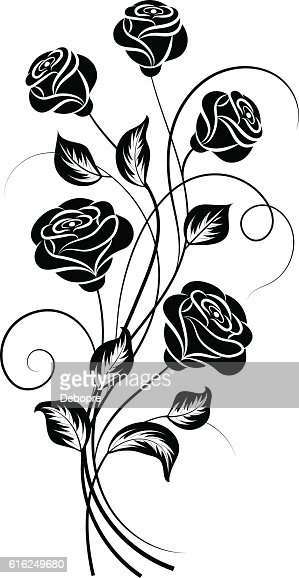 Simple floral background in black and white : Vector Art