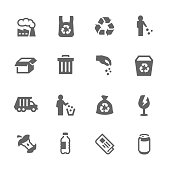 Simple Set of Garbage Related Vector Icons. Contains Such Icons as Plastic Bag, Recycle, Cardboard and more.