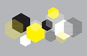 Simple geometry pattern with line mash.  Grid style hexagone motif for surface design for print and web. Modern geometry tech vector illustration for header, card, invitation.