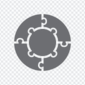 Simple icon circle puzzle in gray. Simple icon circle puzzle of the four  and center elements on transparent background. Flat design. Vector illustration EPS10.