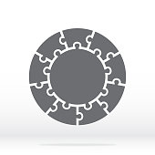Simple icon circle puzzle in gray. Simple icon circle puzzle of the nine elements and center on gray background. Flat design. Vector illustration EPS10.