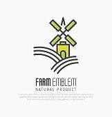 Simple icon for farm on the green hills with meadow field or brewery with wind mill in thin line style. Vector illustration.