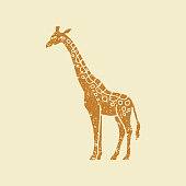 Giraffe icon in flat style. Flat vector illustration