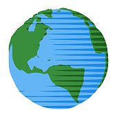 Simple illustration of America continent and Atlantic Ocean on geographical globe in comic style
