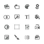 Simple Set of Image Settings Related Vector Icons. Contains Such Icons as Image Gallery, Settings, Adjust and more.