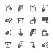 Simple Set of Kiosk Terminal Related Vector Icons. Contains such icons as choosing options, getting recipe, printing tickets and more.