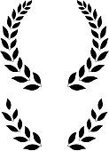 simple laurel wreath -  round and half for main emblem and bottom. Vector format, fully editable, you can change form and color.