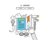 simple line flat design of e-book, modern vector illustration